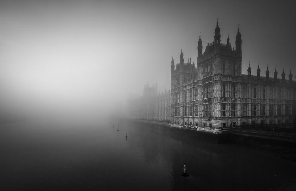 westminster in the fog, fine art london