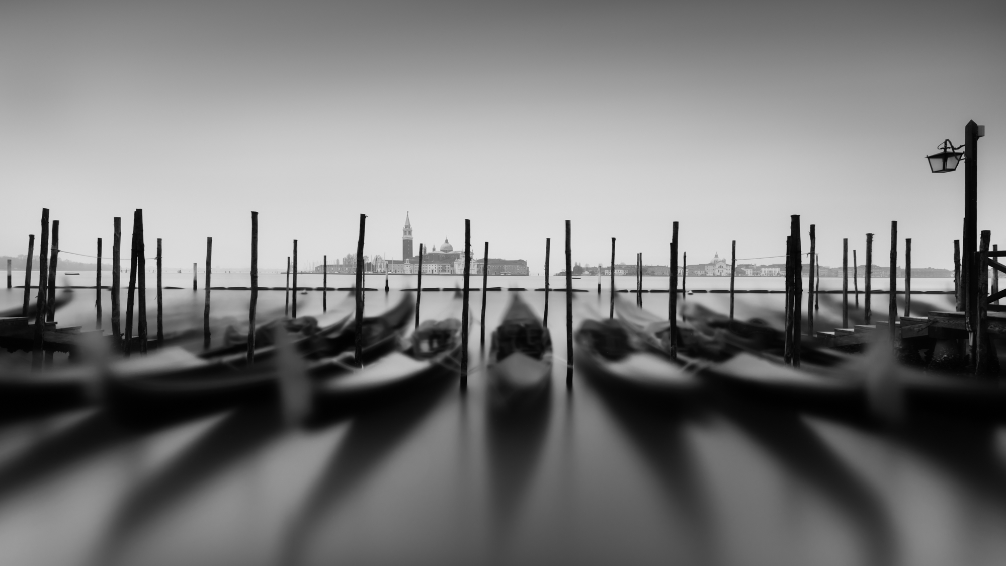 Gondolas Venice Italy, long exposure