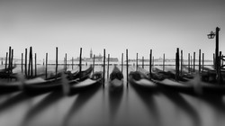 Gondolas Venice Italy, long exposure