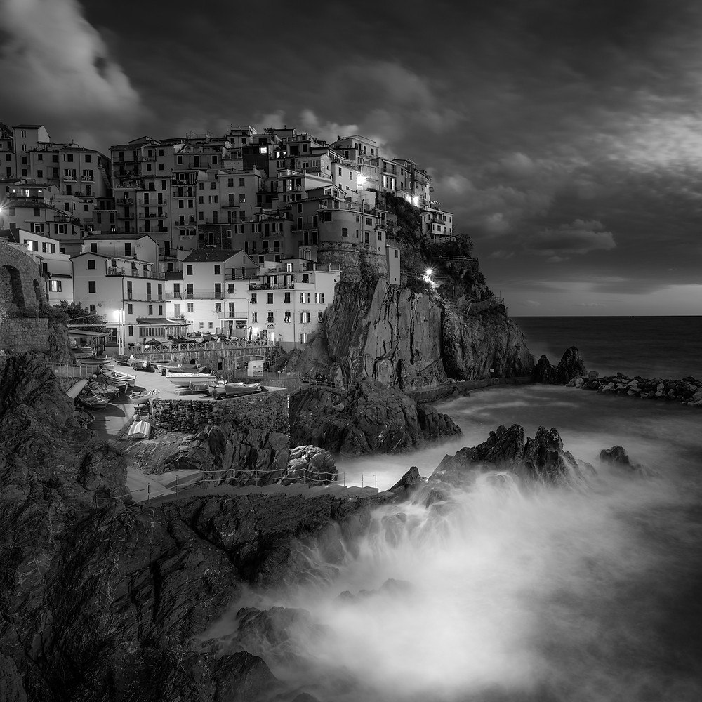 Manarola Italy, black and white photography