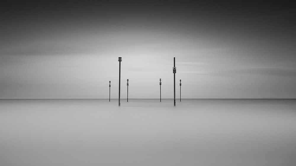 long exposure black and white seascape