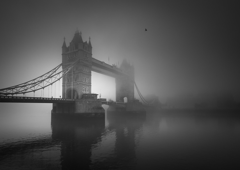 London Tower Bridge in the fog