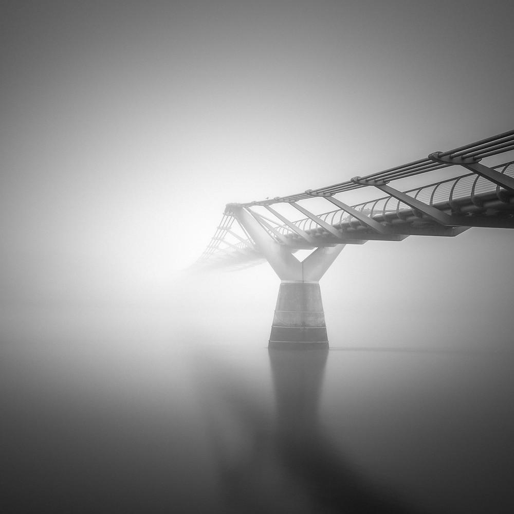Millennium bridge in the fog, London, long exposure