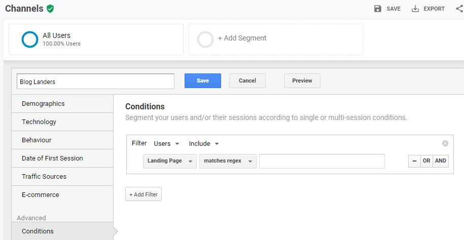 blog landers segment in Google Analytics