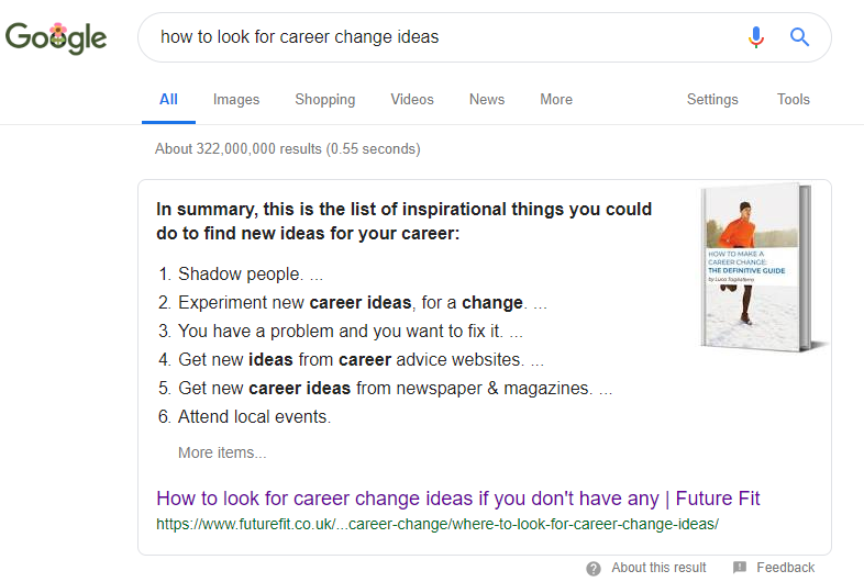 career change ideas featured snippet