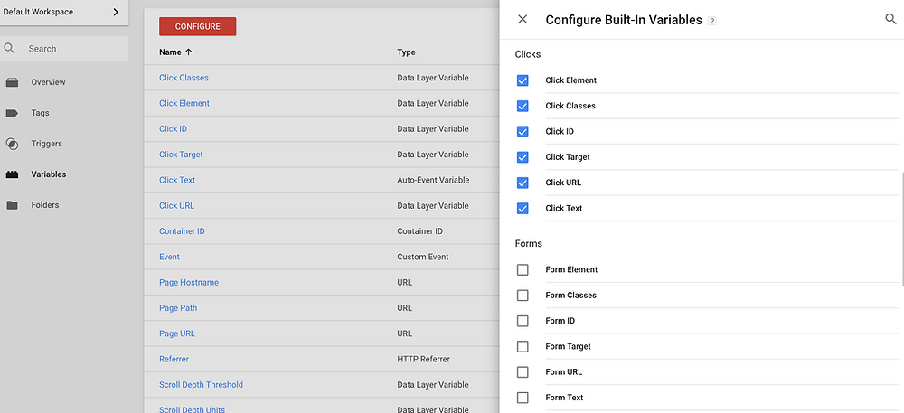 Google Tag Manager Workspace - Configure Variables - Luca Tagliaferro