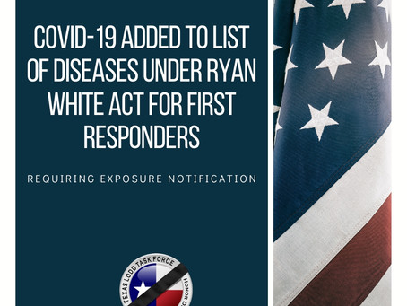 COVID-19 ADDED TO LIST OF DISEASES UNDER RYAN WHITE ACT