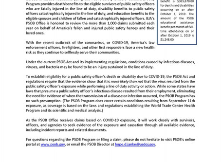 DOJ Response on Benefits for COVID-19 Related Deaths for First Responders