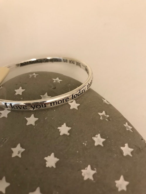 Silver plated bangle (Love you More)