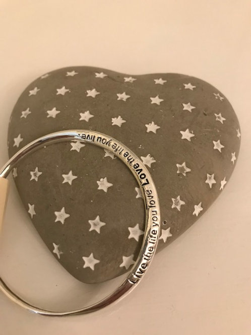 Silver plated bangle (Live the Life)