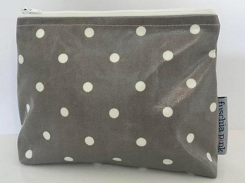 Makeup Bag (Grey & White Polka Dots)