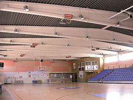 calefactores radiantes SBM, calefacción de multicanchas, calefacción de gimnasios, calefactores para recintos deportivos