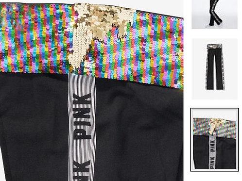PINK VS bling cotton foldover flare leggin
