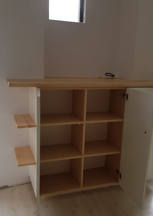 Fabrication mobilier chambre meuble TV bois frêne