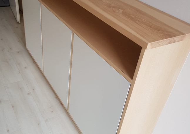 Fabrication meuble chambre console bois frêne