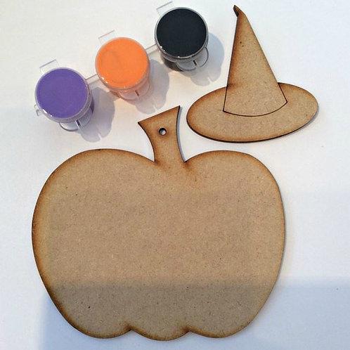Pumpkin & Witch Hat MDF Paint Pack