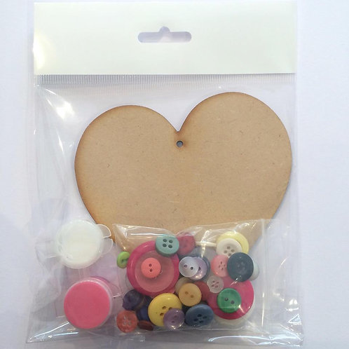 Heart MDF Button Pack