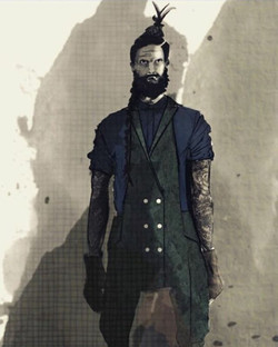 Copic - Auquarelle - Photoshop__#illustration #suite #overall #hairgoals #bearded #white #buttons #