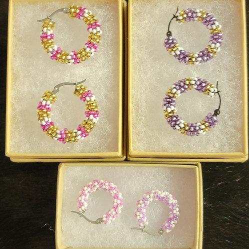 Beaded Hoop Earrings - designed by Brittany Buum