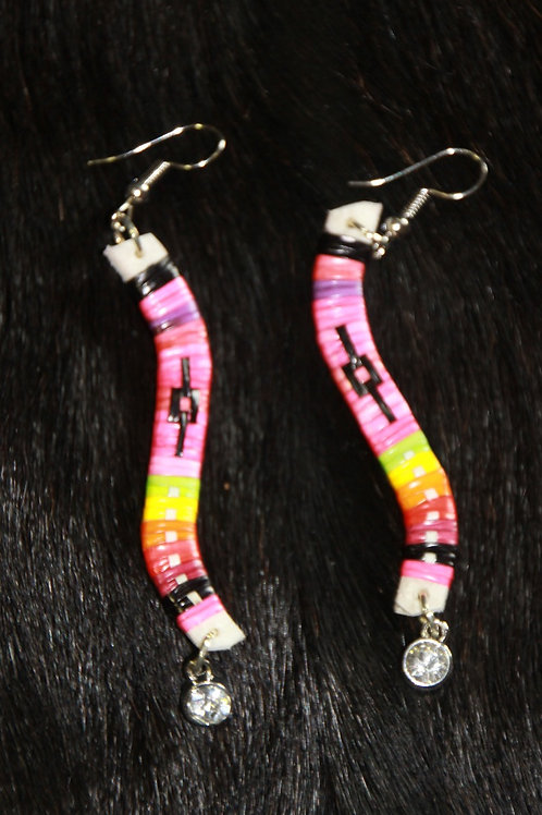 Pink Curved Quill Earrings