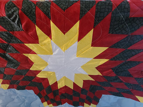 Full/Queen Star Quilt with print materials