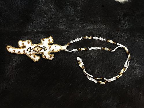 Gold, White, & Black Beaded Amulet