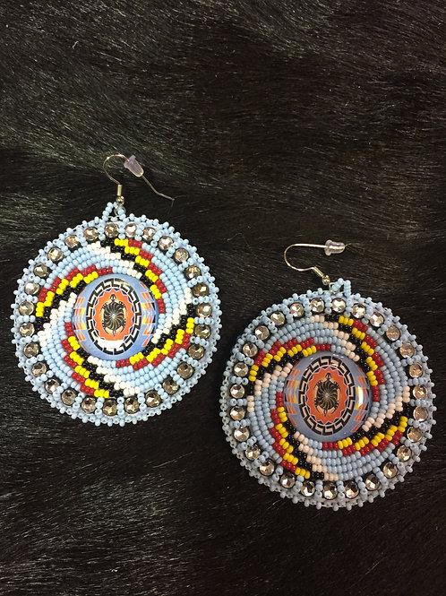 Blue Turtle Medallion Beaded Earrings