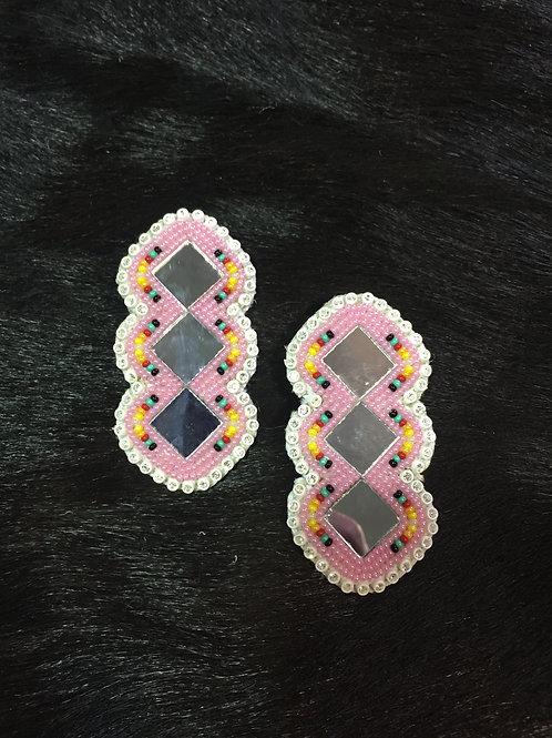 Pink Triple Diamond Beaded Earrings