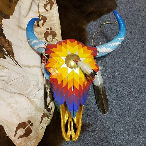 Star Design Painted Buffalo Skull