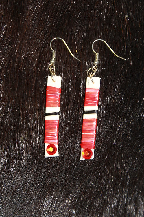 Red Gem Stick Straight Quilled Earrings