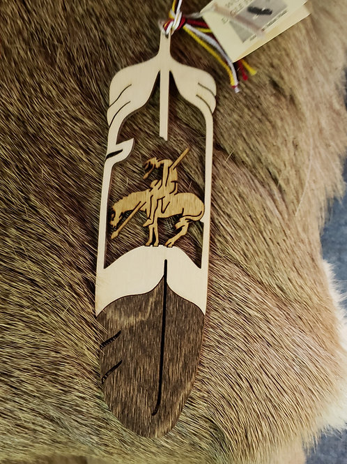 End of the Trail Wooden Feather Bookmark