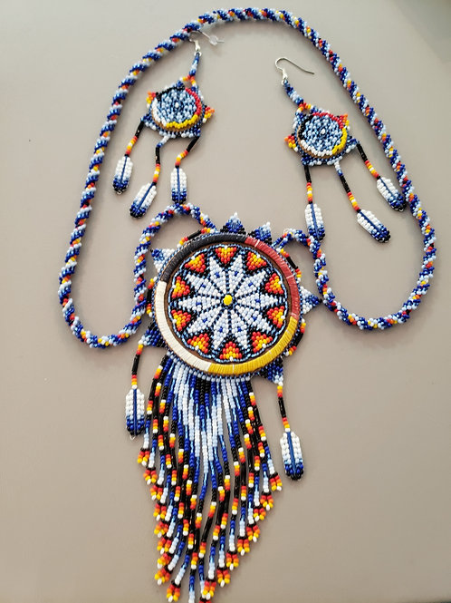 Beaded Medallion and Matching Earrings