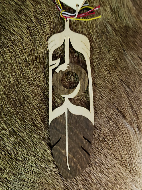 Eagle Circle Wooden Feather Bookmark