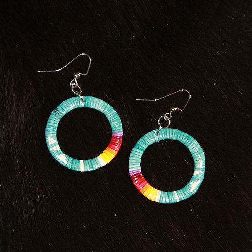Aqua Circle Quill Earrings
