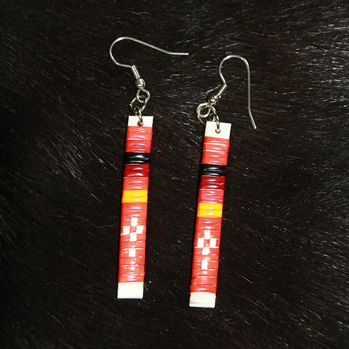 Red Stick Straight Quilled Earrings