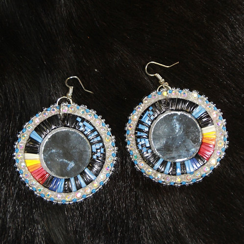 Beaded and Quilled Round Earrings