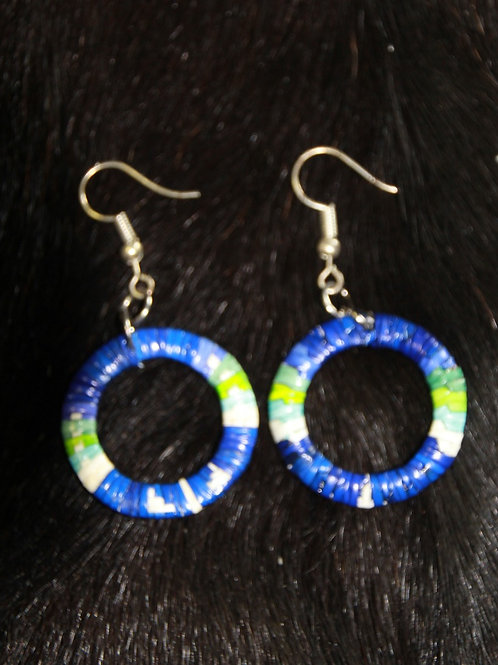 Blue Circle Quill Earrings