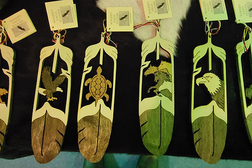 Large Wooden Feather Bookmarks