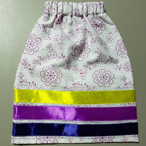 Infant Ribbon Skirt with blue, purple and yellow Ribbons