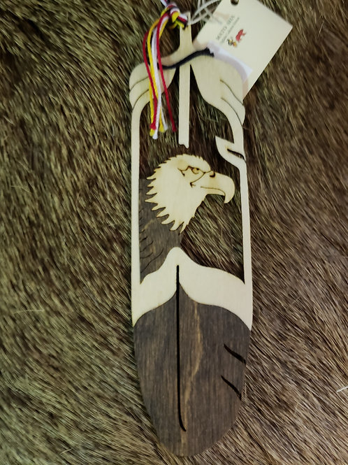 Eagle Head Wooden Feather Bookmark