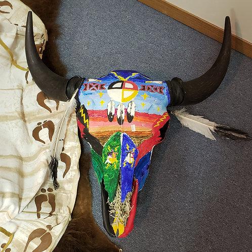 Painted Buffalo Skull