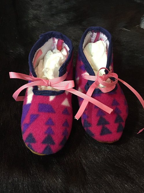 Pink Print Cloth Moccasin