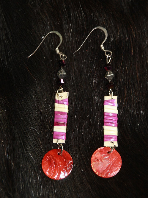 Pink & White Quill Earrings