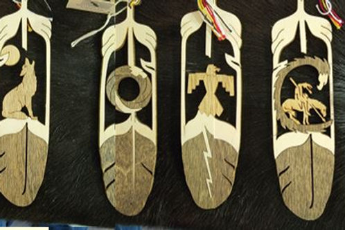 Wooden Feather with various cut out designs