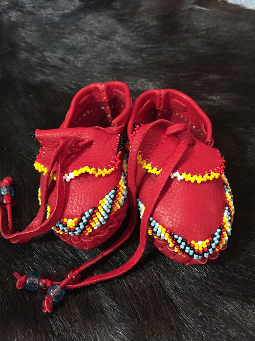 Red Leather Beaded Children Moccasin