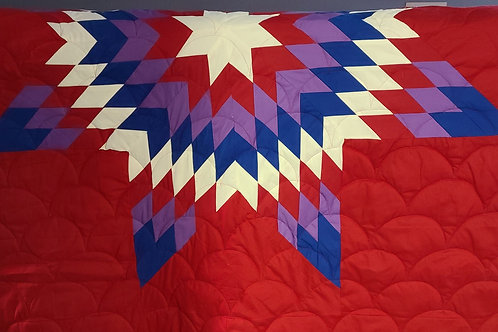 Red background/Awesome Color Star Quilt