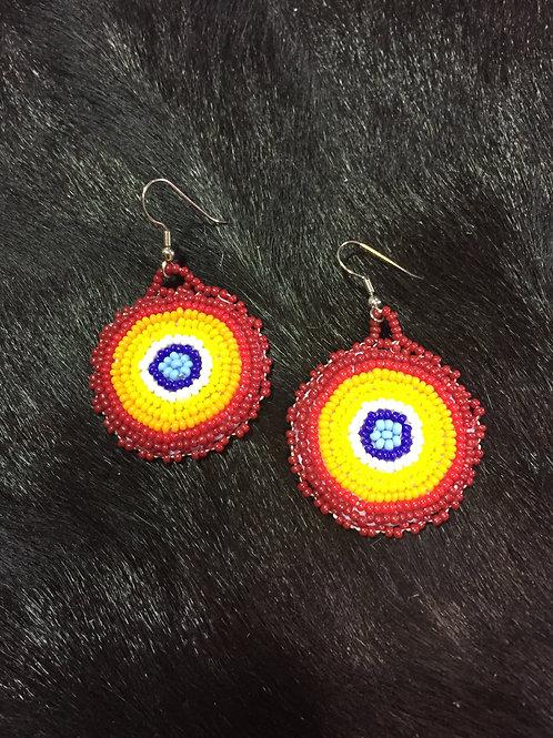 Red/Orange/Yellow Round Beaded Earrings