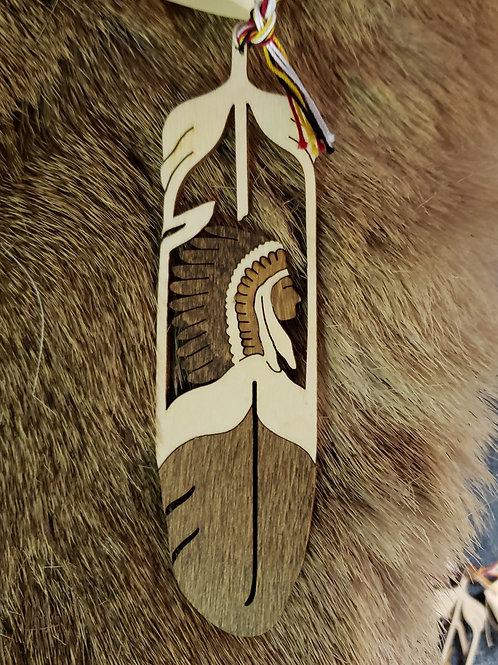 Indian Chief Wooden Feather Bookmark