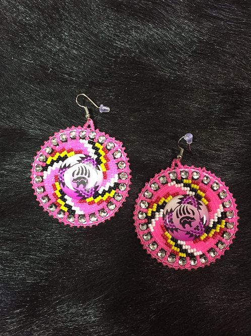 Pink Bear Medallion Beaded Earrings