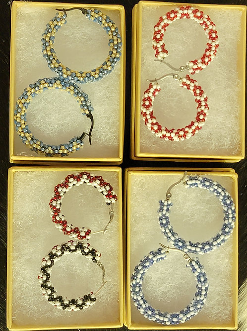Large Beaded Hoop Earrings - designed by Brittany Buum